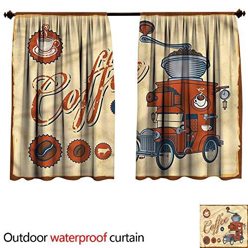BlountDecor UPF Outdoor curtainAnti-Water W55 x L45(140cm x 126cm) Retro,Truck Coffee Grinder