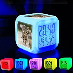 Alarm Clock 7 LED Color Changing Wake Up Bedroom with Data and Temperature Display (Changable Color) Customize the pattern-090.Cat, Tabby, Outdoors, Animals, Cute, Kitten, Pets