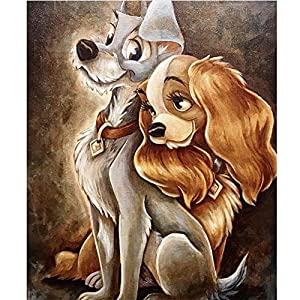 5D Full Drill Diamond Painting Kit, KISSBUTY DIY Diamond Rhinestone Painting Kits for Adults and Beginner Diamond Arts Craft Home Decor, 15.8 X 11.8 Inch (The Tramp Dog Diamond Painting)