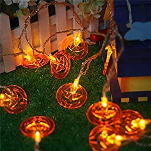 Once ZY Time Halloween Pumpkin LED String Lights Halloween Decor Jack-o-Lantern for Indoor Outdoor Halloween Cosplay Christmas Parties 2M 20LED