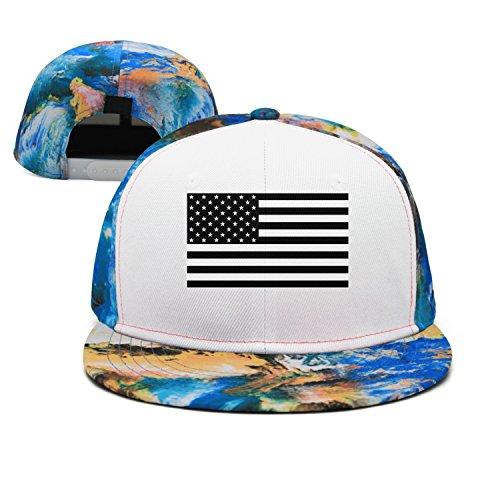 Artisfive American Flag Black and White Camo Flat Bill Baseball Cap Trucker Snapback by Artisfive
