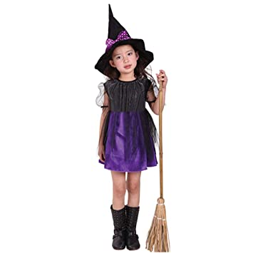 halloween little girls costume toddler kids witch sleeveless cosplay party dress hat outfit set