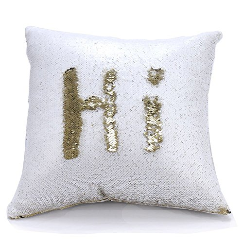 "Reversible Sequin Pillow Case Decorative Mermaid Pillow Cover Color Changing Cushion Throw Pillowcase 16"" x 16"" ,White and Gold (Bedding White And Silver Gold)"