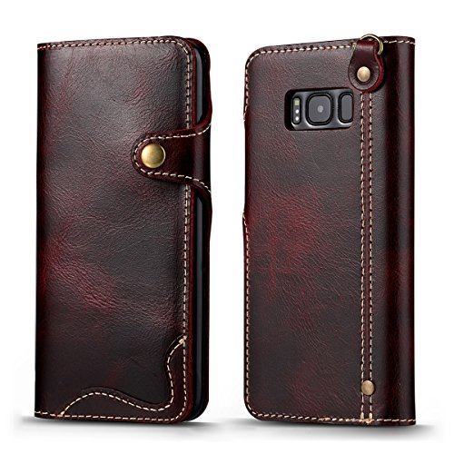 (for Samsung Galaxy S8 Leather Case [Retro Button] Top Cow Oil Wax Leather Luxury Cell Phone Wallet Case Vintage Designer Folio Flip Cover with Card Slot + Portable Sling)