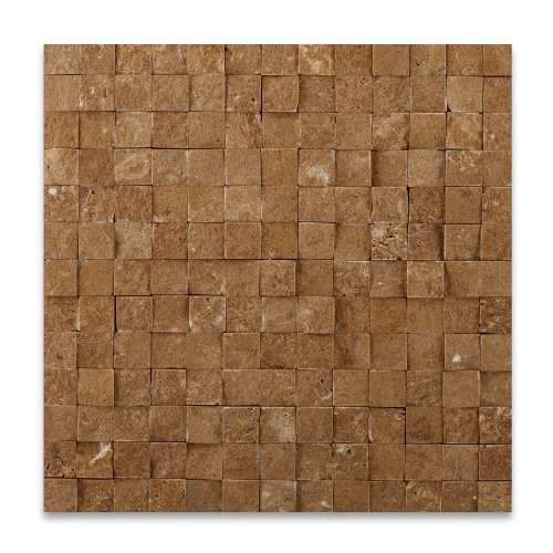 Noce 2 X 4 Travertine Split-Faced Mosaic Tile