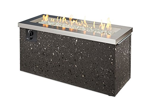 Stainless Steel Key Largo Linear GAS Fire Pit Table (KL-1242-SS) with Glass Wind Guard (1242) (Keys Accents Stainless)