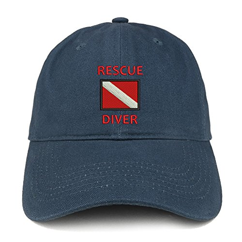 Hat Diver (Trendy Apparel Shop Rescue Diver Flag Embroidered Low Profile Soft Cotton Baseball Cap - Navy)