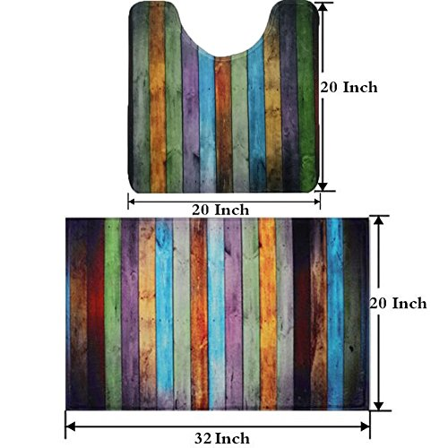 Fashion Dream Bath mat Sets Non - Slip Toilet Rug Set Combination - Two Pieces Of Rainbow Wood-Grain Bathroom Carpet 20 x 31 Inches & 20 x 20 Inches - Two Piece Toilet Set