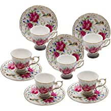 Grace Teaware Fine Porcelain Espresso Cup and Saucer Set of 6, 3-Ounce (Floral Hummingbird)