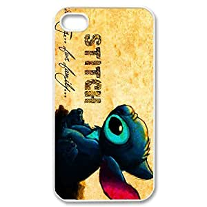 CTSLR Cute Lilo & stitch Ohana Protective Hard Case Cover Skin for Apple iPhone 4/4s- 1 Pack - Black/White - 5