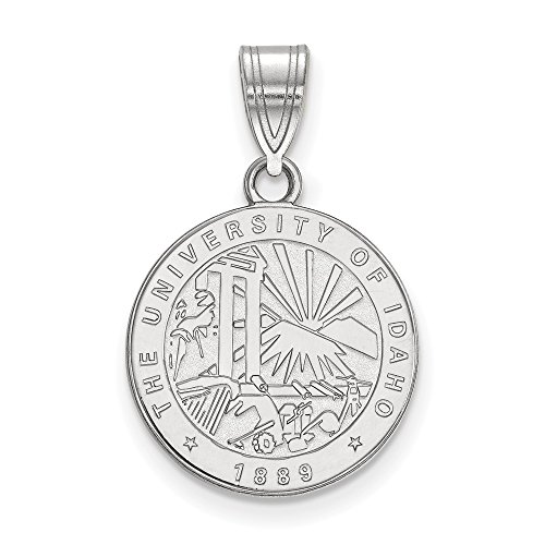 (Solid 925 Sterling Silver University of Idaho Medium Crest Pendant (15mm x 24mm))