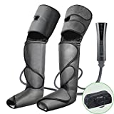 FIT KING Air Compression Leg Massager for Foot Calf and Thigh Circulation Massage and Slimming with Extensions and 3 Modes 3 Intensities (Dark Gray)