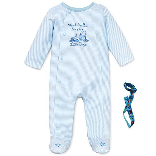 Little Me Thank Heaven Baby Boy Sleep N Play with Pacifier Tether Blue Newborn