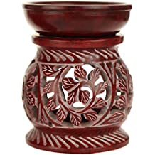 Oil Diffuser - Red Soapstone Oil Burner Round leaves 4""