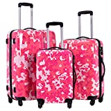 Goplus GLOBALWAY 3 Pcs Luggage Travel Set Bag ABS+PC Camouflage Trolley Suitcase Wheels Coded Lock (Pink Camo)