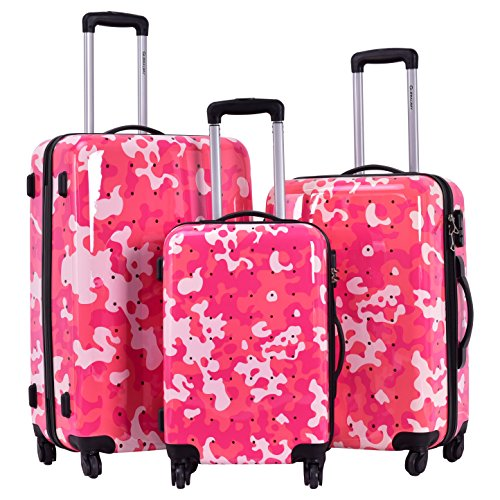 Goplus GLOBALWAY 3 Pcs Luggage Travel Set Bag ABS+PC Camouflage Trolley Suitcase Wheels Coded Lock (Pink Camo) by Goplus