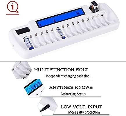 Cargador de Pilas AA /AAA Ni-MH Ni-CD y 9V Ni-MH Li-ion cargador de batería recargable,con LCD inteligente y 18 ranuras Recargue mixto o ...