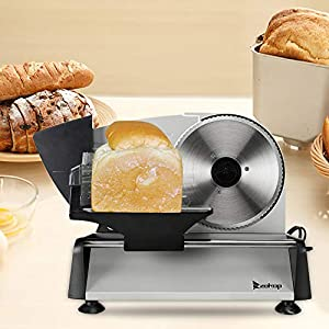 """110V/150W 7.5"""" Blade Premium Electric Semi-automatic Belt Cutter Deli Meat Food, Thickness Adjustable - Ideal for Cold Cuts Hard Cheese, Vegetables & Bread [US STOCK] (Grey)"""