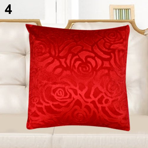Amesii Pure Color Retro Floral Throw Pillow Case Square Car Home Cushion Cover Shell - White