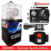 DEMUX 4K Action Camera | WiFi Sports Digital Cam | Waterproof/Underwater/Ultra HD/16MP/2.4G Remote/170 Wide Angle/30-60FPS/LCD/2 Rechargeable Batteries/Accessories | ES8000–2018 Extreme Sports Edition