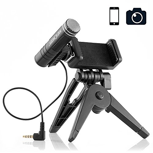 Professional Recording Microphone Phone Camera Microphone with Foldable Tripod Stand Shotgun Podcast Microphones for iPhone Android,Smartphones, YouTube Video, Interview, Studio - Professional Camera Equipment