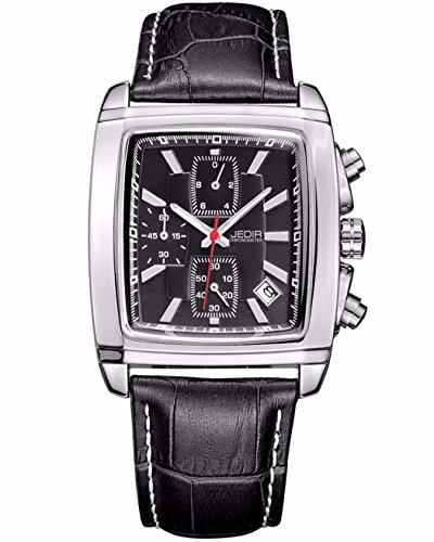 Jedir Rectangular Shaped Watch w/ Black Face and Leather Bands, Date, Water and Shock - Rectangle Face Shaped