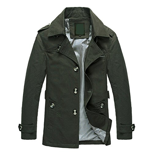 OCHENTA Herren Mantel Jacke Schlank aus Baumwolle Mittellang Plus Groesse Armee Gruen Asien XL - Europa/DE S