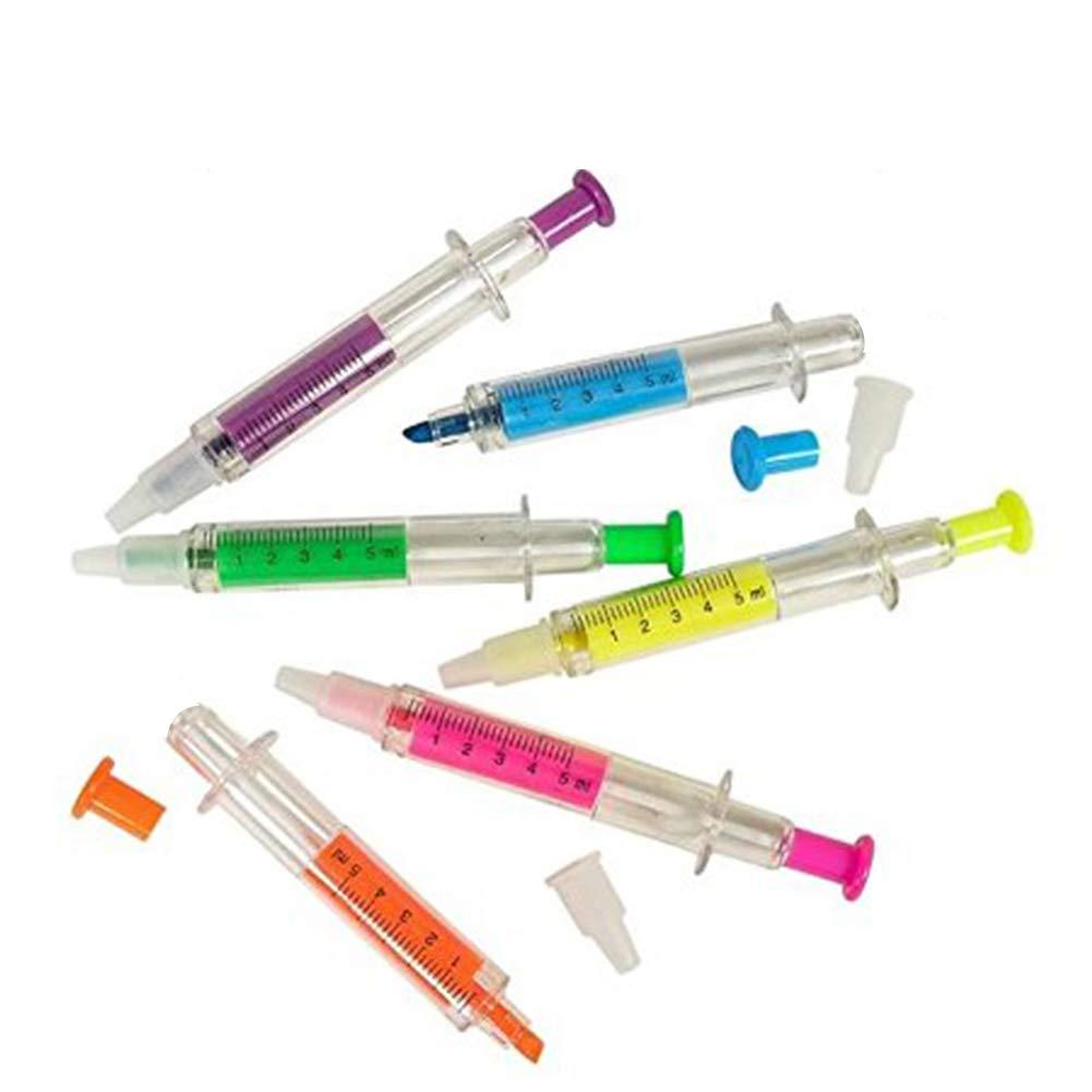4 STÜCKE Spritze Textmarker Marker Nadel Kugelschreiber Krankenhaus Pen