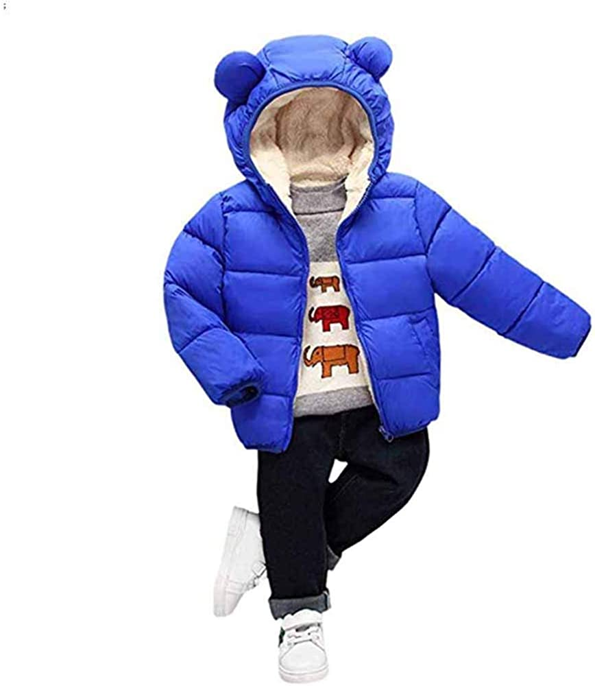 youjiaxiaodian Toddler Baby Hooded Coat Boy Girl Cute Ear Long Sleeve Zipper Jacket Winter Warm Outerwear Tops