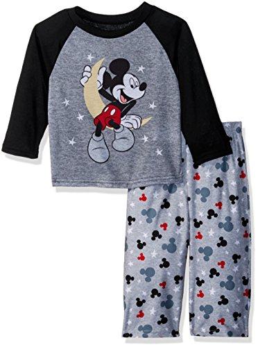 (Disney Baby Boys Mickey Mouse 2-Piece Pajama Set, Nighttime Gray)