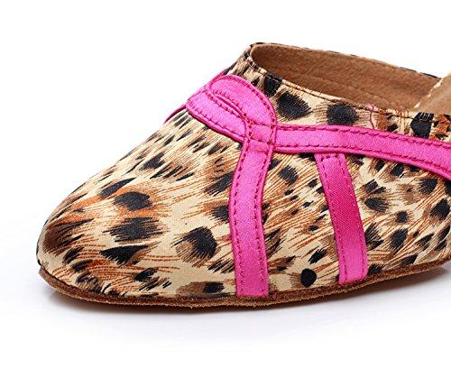 Minitoo QJ709 Womens Leopard Satin Modern Salsa Tango Ballroom Latin Dance Shoes Pink krI7II4