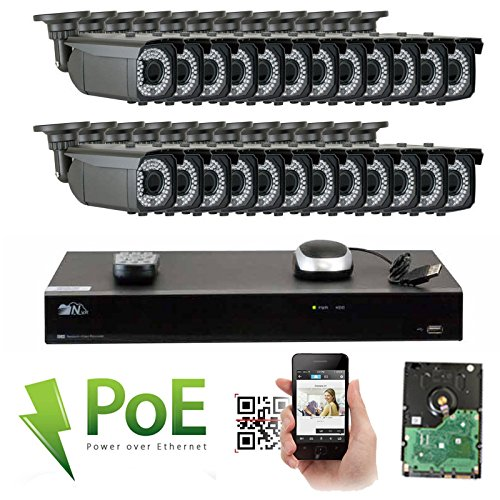 GW 32 Channel 4K NVR 1920P Video Security Camera System – 24 x 5MP 1920P Weatherproof 2.8-12mm Varifocal Bullet Cameras, 180ft IR Night Vision, Realtime Recording 1080p 30fps, Pre-Installed 8TB HDD