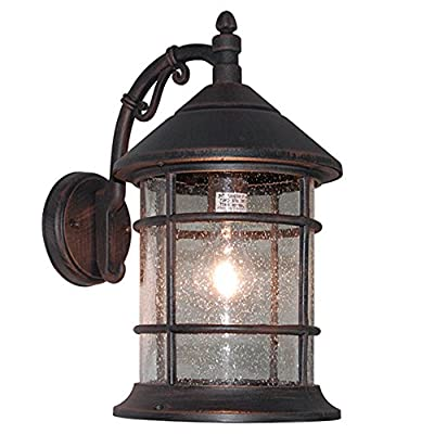 eTopLighting Bella Luce Collection Exterior Outdoor Lantern, Oil Rubbed Rust Body Finish with Clear Seeded Glass