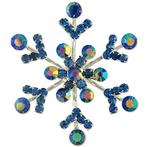 (CRYSTAL SILVER PLATE CHRISTMAS SNOWFLAKE BROOCH PIN MADE WITH SWAROVSKI ELEMENTS (Blue))