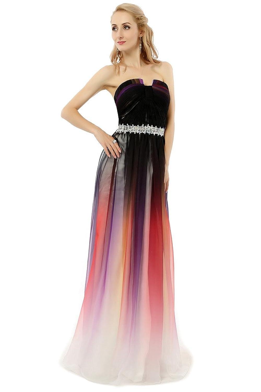 hongfuyu Damen Fashion Farbverlauf Chiffon formale Kleider Lang ...