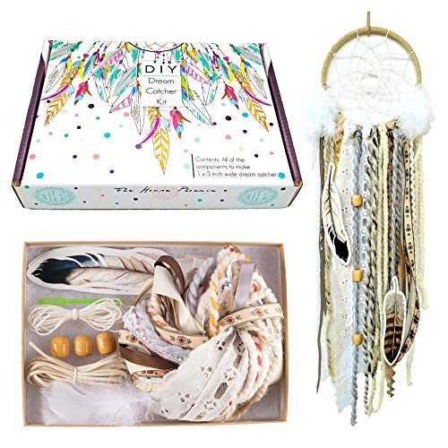 DIY Dream Catcher Kit Make Your Own Craft Activity Cream Wall Hanging Stocking Stuffer Christmas Gift for Kids and Adults from The House Phoenix
