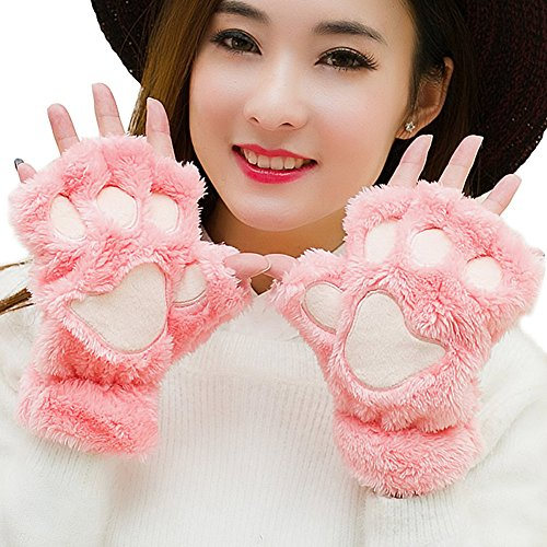 Women Winter Cute Fluffy Bear Plush Paw Claw Gloves Soft Mittens  Half Finger  Watermelon Red