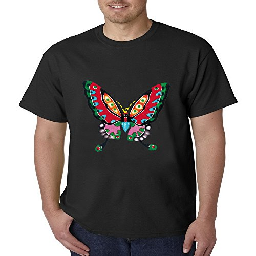 LucyLucy Rule Art Butterflies Painting Inconceivable Crew Neck Short Sleeve Mens T-shirt Size - Crewneck Top Studded