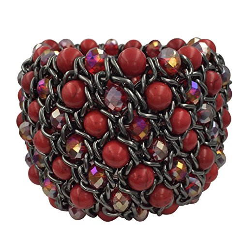 Wide Stretch Beaded Bracelet (Wide Multi Row Beaded Statement Stretch Bracelet (Red Gun Metal))