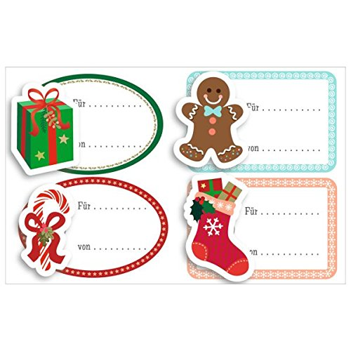 Susy Card 40014395Gift self-adhesive sticker sheet size 8x 12, 5cm, 1sheet in foil Loose Spring + Bell–Gift Boots, Gingerbread Man, Candy Cane