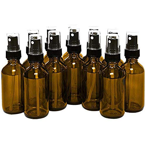 15ml (0.5oz) Empty Glass Spray Bottles (12 pack) - Refillable Containers with Black Fine Mist Sprayer for Misting Aromatherapy, Essential Oils, Cleaning, Room Sprays (Amber) by THETIS Homes ()