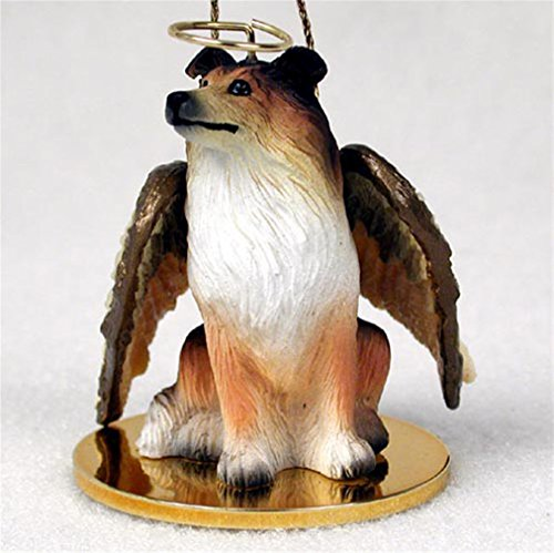 Ky & Co YesKela Collie Dog Figurine Ornament Angel Statue Hand Painted Sable (Angel Dog Collie Ornament)