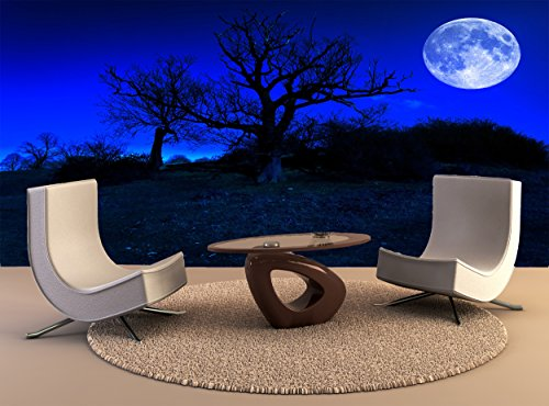 Tree Dead Photo (Wallpaper Mural Dead Tree Midnight Full Moon Wall Art Decor Photo Wallpaper Poster Print)