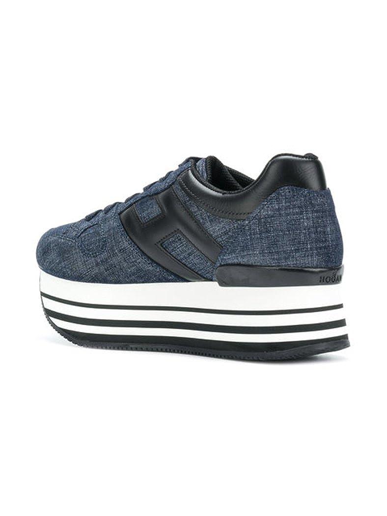 Hogan H283 Maxi 222 Calzatura Donna Sneakers Jeans Allacciata H Grande in  Pelle Nera (35.5 0cb241a6712