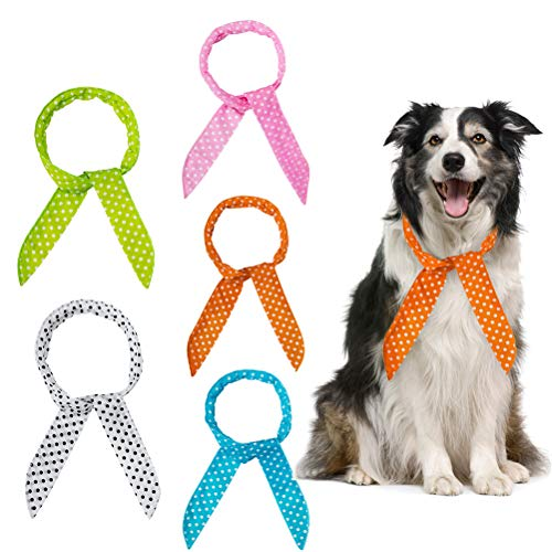 - SCENEREAL Dog Cooling Bandanas - 5 Pack Ice Cool Collar Neck Scarf Headband for Summer, Dot Printing Human and Pets