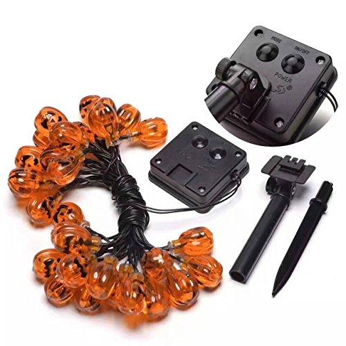 Halloween Lantern Solar String Lights, Aigoune 25ft 30 LED Waterproof 3D Pumpkin Lights with 8 Modes,Warm - Pumpkin Moda