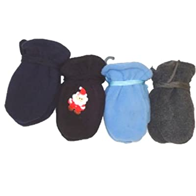 Four Pairs Mongolian Fleece Very Warm MittensGloves for Ages 0-12 Months