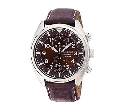 Seiko Men's Brown Dial Brown Leather Strap Chronograph Watch