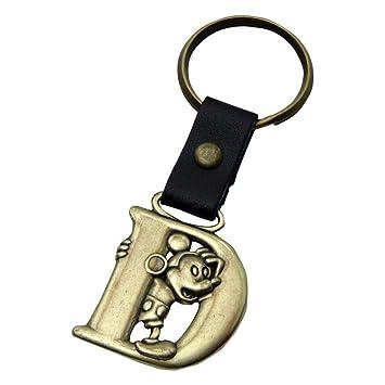 Amazon.com: Llavero de latón con diseño de letra D de Mickey ...