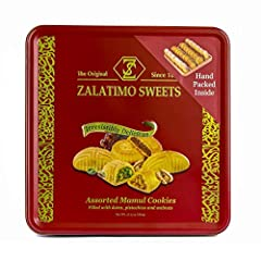 Zalatimo Sweets will take you back to the taste of home. Experience the fresh taste of premium gourmet mamoul (maamoul, mamul) biscuits with our beautiful three variety arrangement of delicious handmade shortbread biscuits are stuffed with ei...